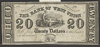 West Union, OH, 1830s $20 Remainder, The Bank of West Union, VF (torn)